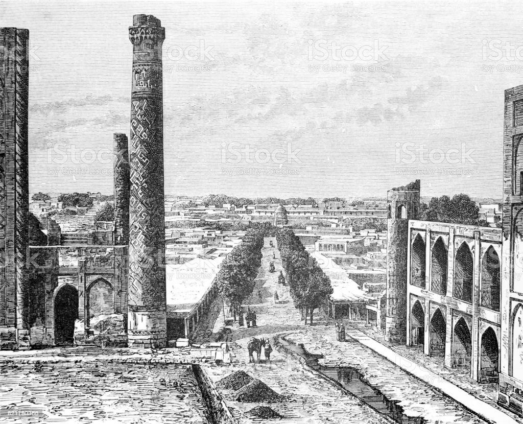 Landmarks in Samarkand City in Uzbekistan vector art illustration