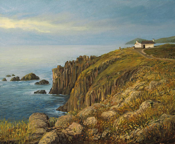 Land's End in Cornwall The most western point of United Kingdom Land's End, painted on the canvas by me, Kiril Stanchev . cliffs stock illustrations