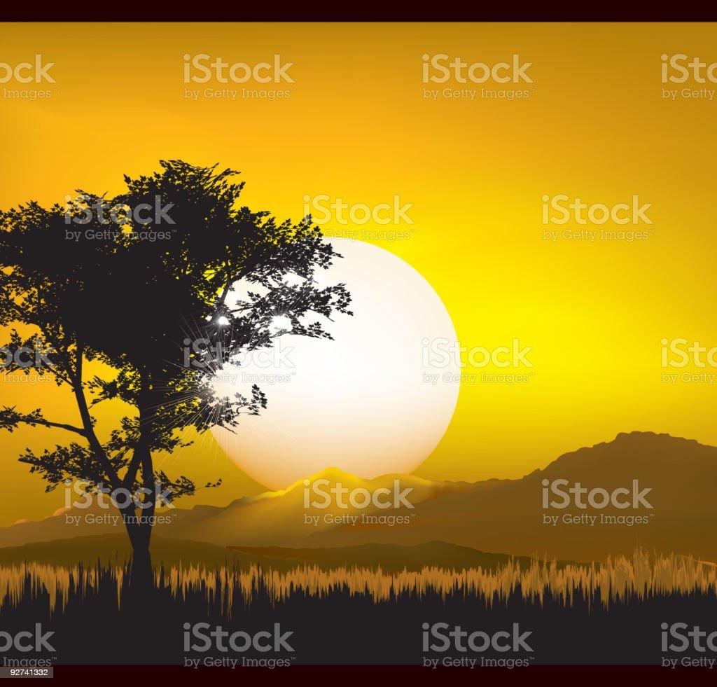 Landscape at Dusk vector art illustration