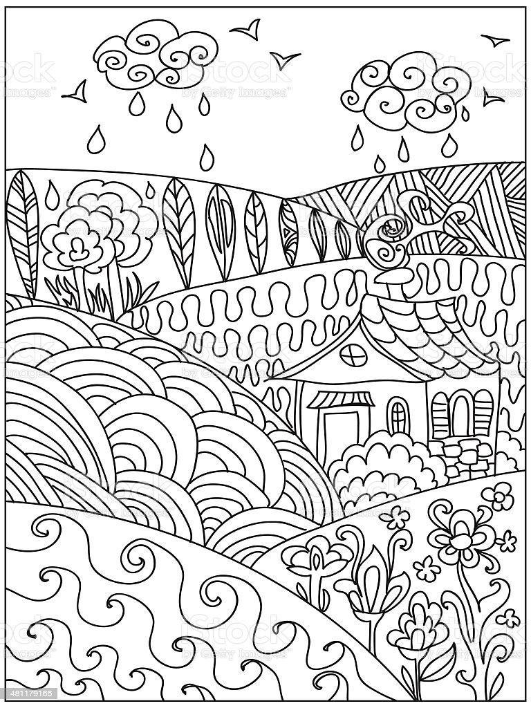 Landscape coloring pattern - Royalty-free 2015 stock illustration