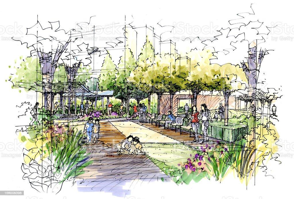 Landscape garden sketch series 03 stock vector art more for Landscape design sketches