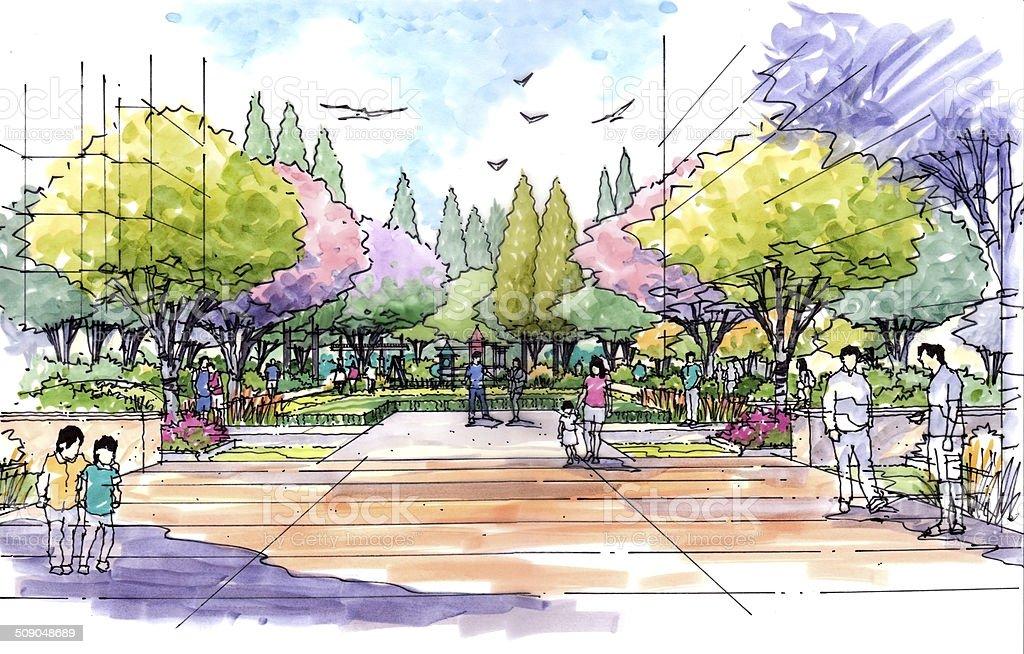 Landscape garden sketch series 31 vector art illustration