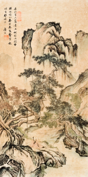 Chinese ink painting, landscape.