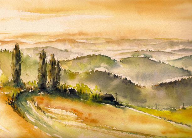 landscape - mountains in mist stock illustrations