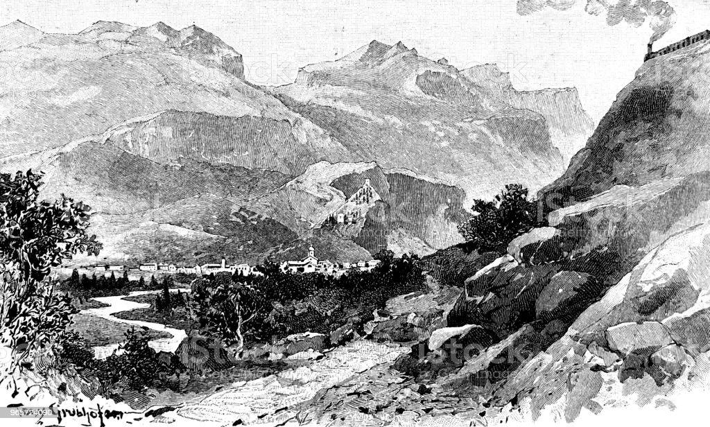 Landscape in Arco, near lake garda - Royalty-free 1890-1899 stock illustration