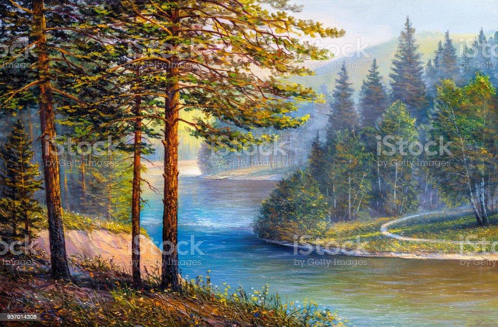 Manzara Dag Nehir Bir Tuval Uzerine Yagli Boya Resim Stok Vektor