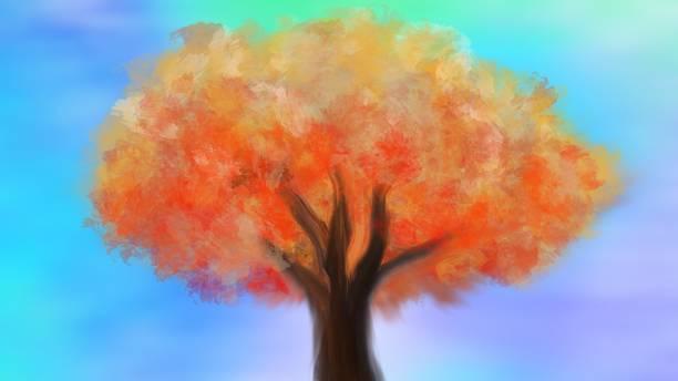 illustrazioni stock, clip art, cartoni animati e icone di tendenza di pittura di paesaggio, un albero ha foglie arancioni con un fantastico sfondo del cielo. - forest bathing
