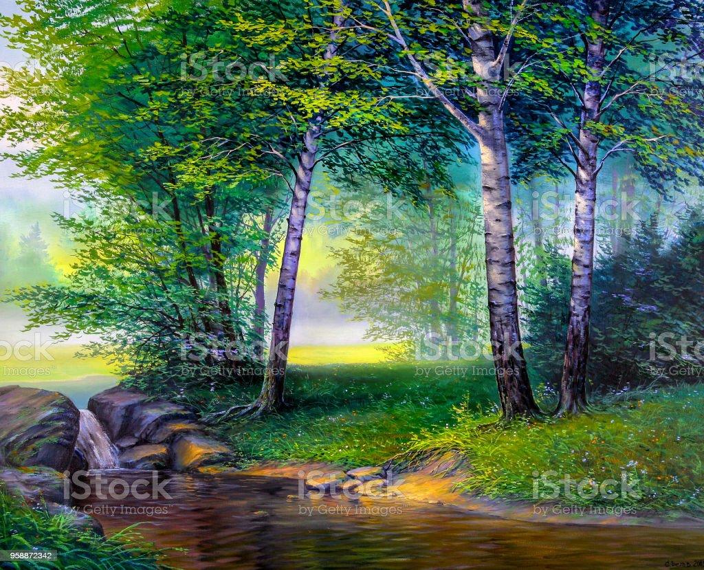 滝の風景画 まぶしいのベクターアート素材や画像を多数ご用意 Istock