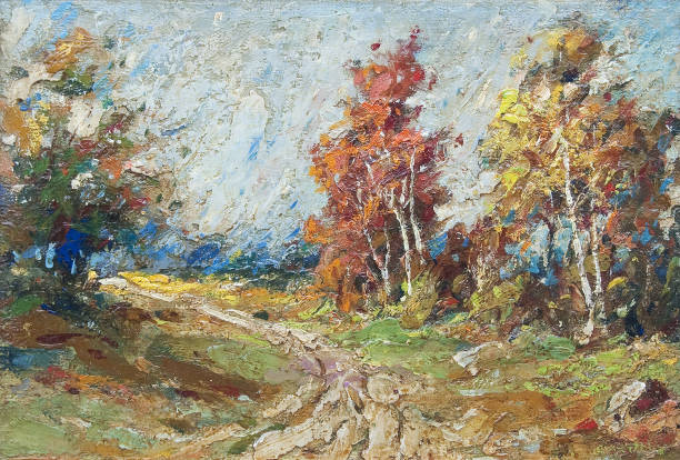 Landscape painting - road through autumn forest Landscape painting showing road through the forest in autumn. impressionism stock illustrations