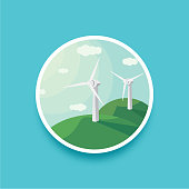 Landscape round illustration illustration of wind generators. Landscape round wind power. Wind turbines and blue sky. Modern alternative energy generation. Eco technologies. Clean resources