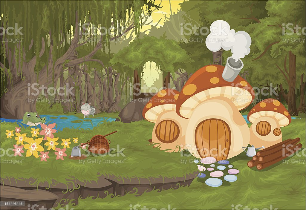 landscape The word Mushroom house royalty-free stock vector art