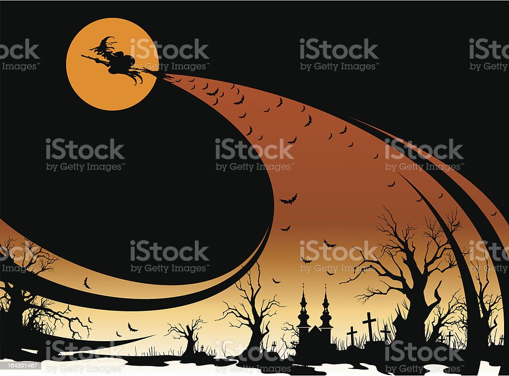 Landscape with a witch royalty-free stock vector art