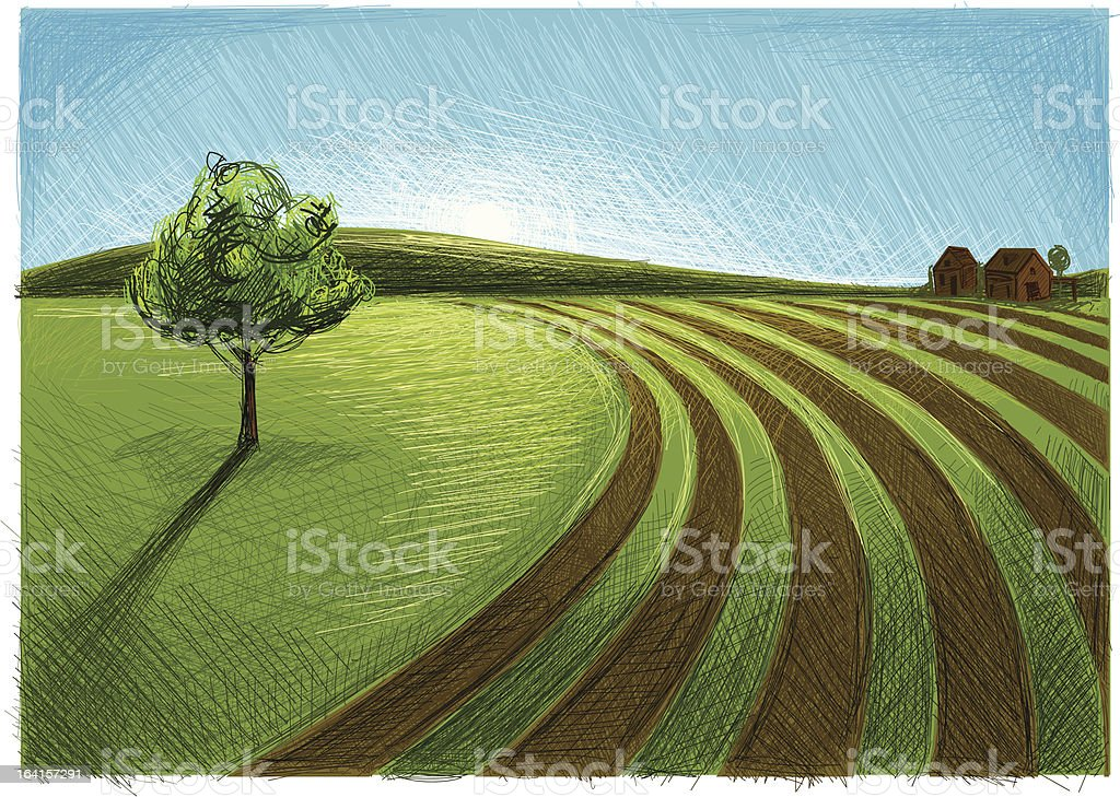 landscape with agriculture royalty-free stock vector art