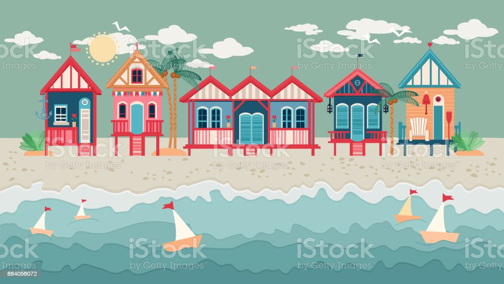 Landscape with Beach Huts in a Row vector art illustration