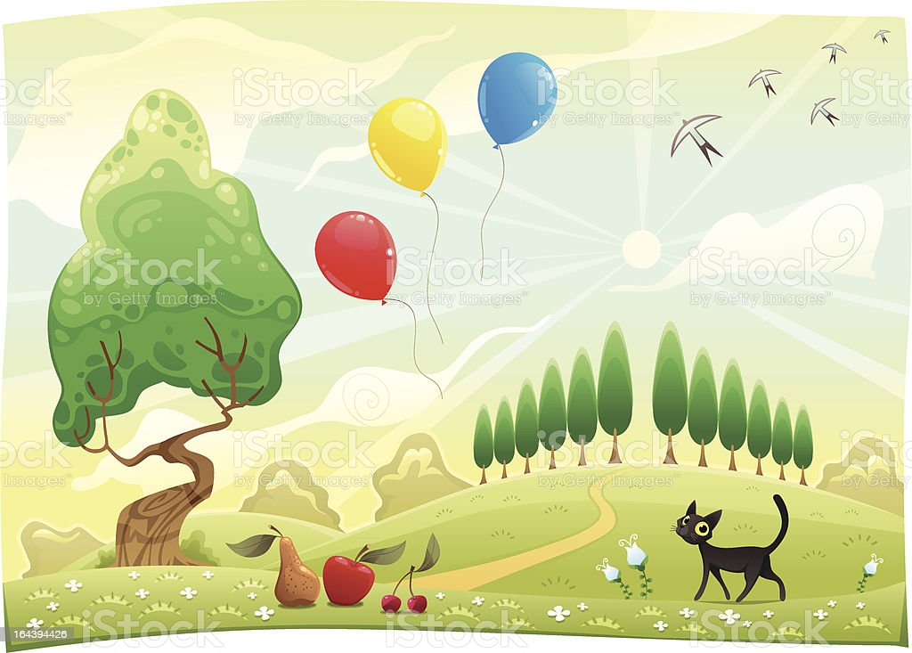 Landscape with cat. royalty-free stock vector art