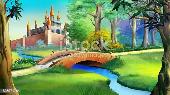 istock Landscape with fairy tale castle and small bridge over the river. 693971764