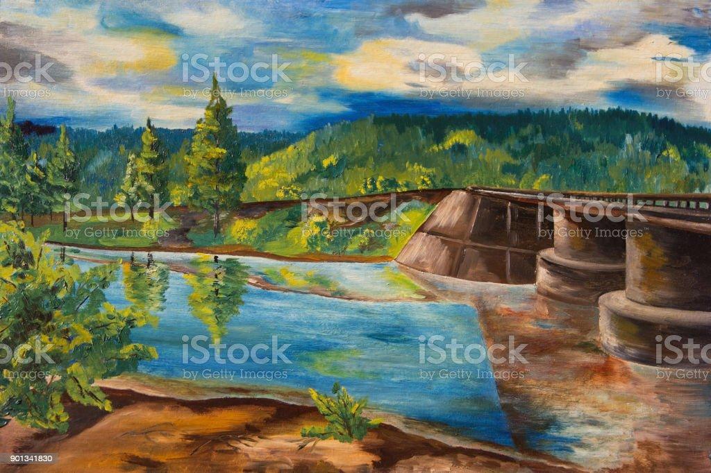 Landscape with forest river and bridge vector art illustration