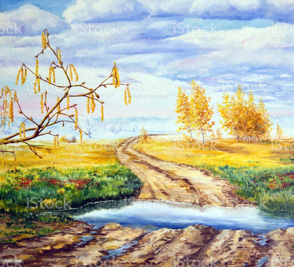 Landscape with four seasons. vector art illustration