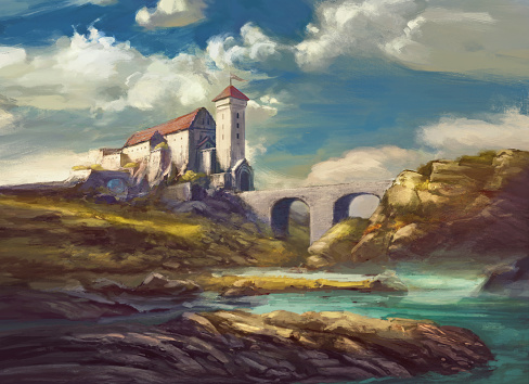 landscape with medieval castle on cliff, stone bridge over river, rocks, beautiful sky with white clouds - painting fantasy scene, fictional castle
