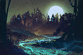 landscape with mysterious river,full moon over castles