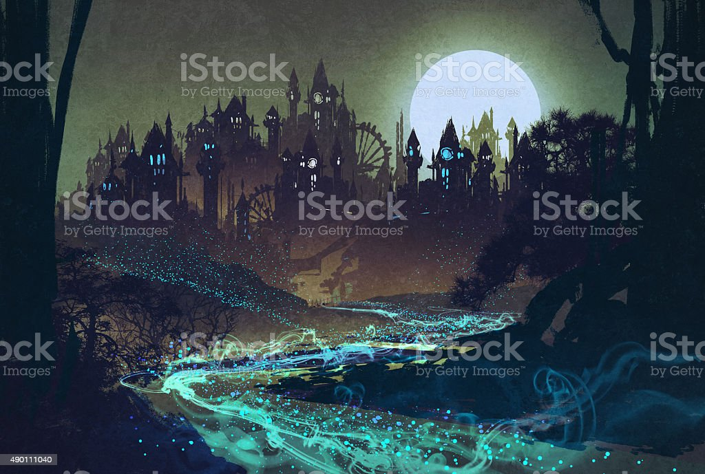 landscape with mysterious river,full moon over castles vector art illustration