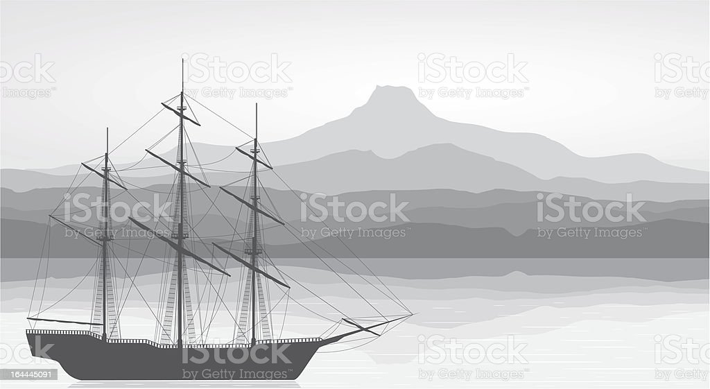 Landscape with old ship and mountains view. Black&white illustration. royalty-free landscape with old ship and mountains view blackwhite illustration stock vector art & more images of battleship