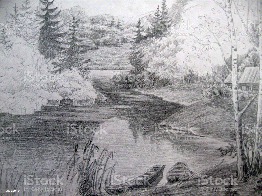 Paysage Avec Rivière Et Bateau Dessin Noir Et Blanc Vecteurs