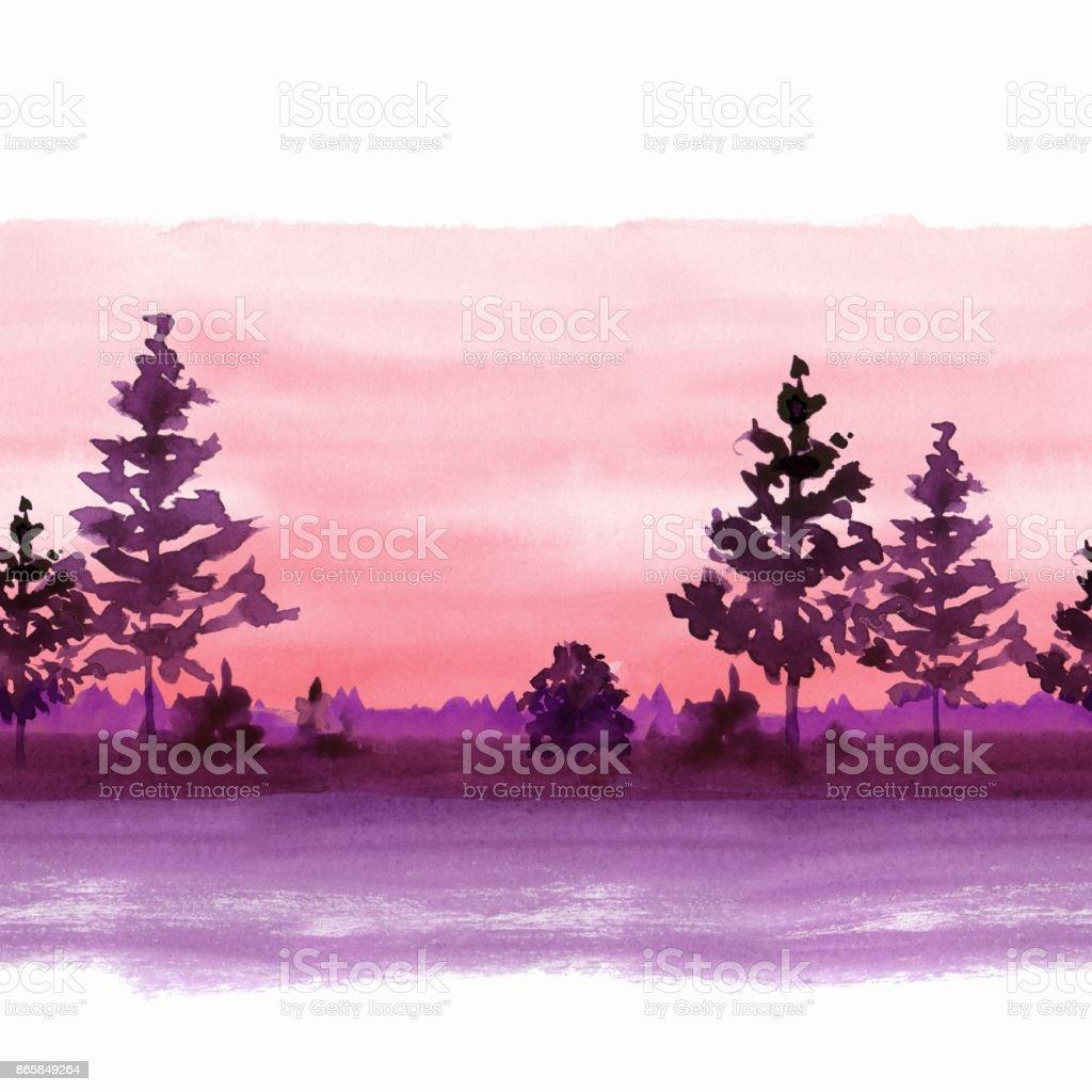 Landscape with simple fir trees. Seamless border vector art illustration