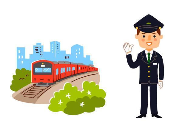 bildbanksillustrationer, clip art samt tecknat material och ikoner med landskap med tåg-och stations personal - derail