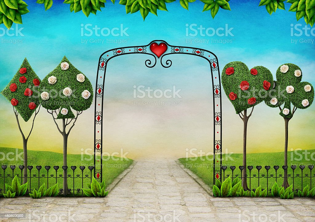 Landscape with trees, topiary and roses vector art illustration