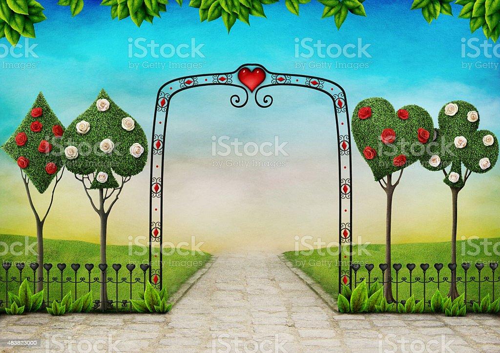 Paesaggio con alberi e rose, Arte topiaria - illustrazione arte vettoriale