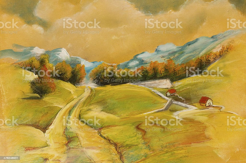 Landscapes on oil canvas royalty-free stock vector art