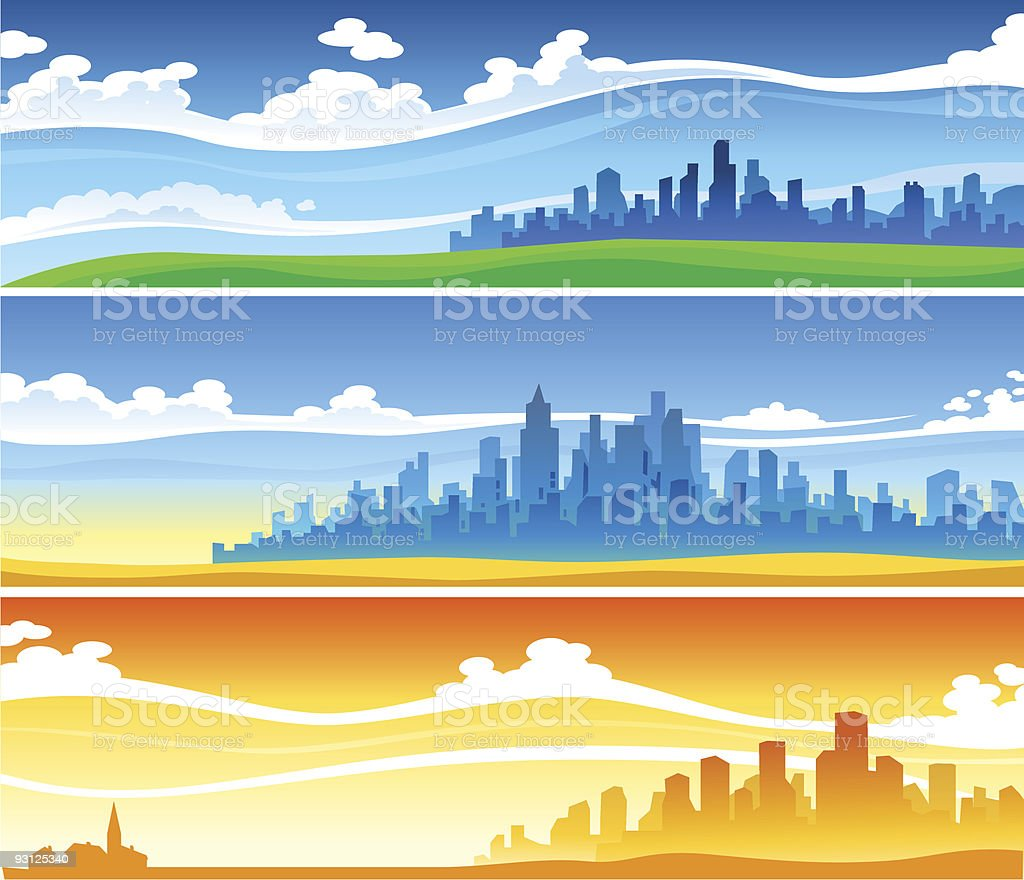 Landscapes Set vector art illustration