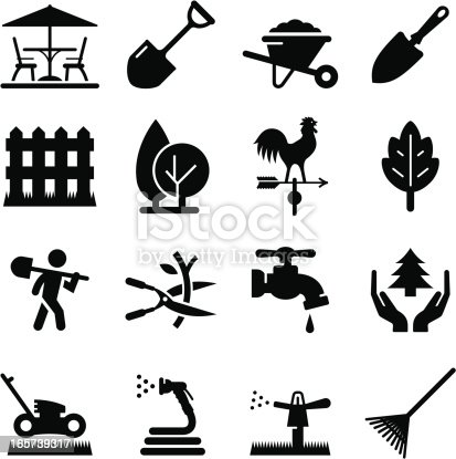 Lawn care and landscaping icon set. Professional icons for your print project or Web site. See more in this series.