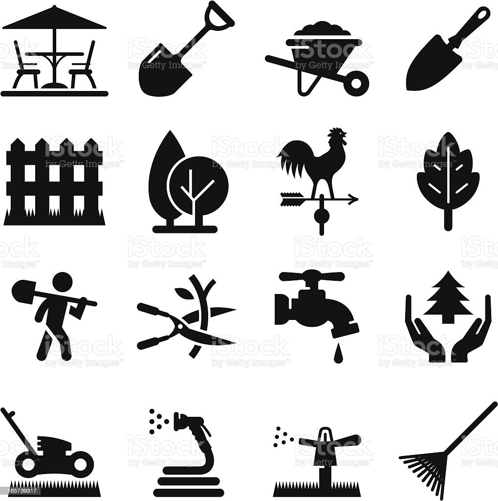 Landscaping Icons - Black Series vector art illustration