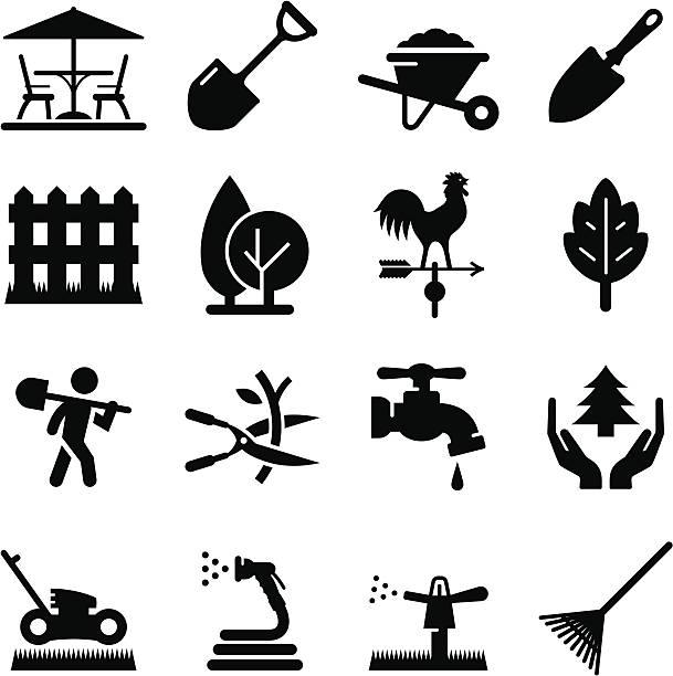 ilustraciones, imágenes clip art, dibujos animados e iconos de stock de paisaje iconos de la serie black - backyard
