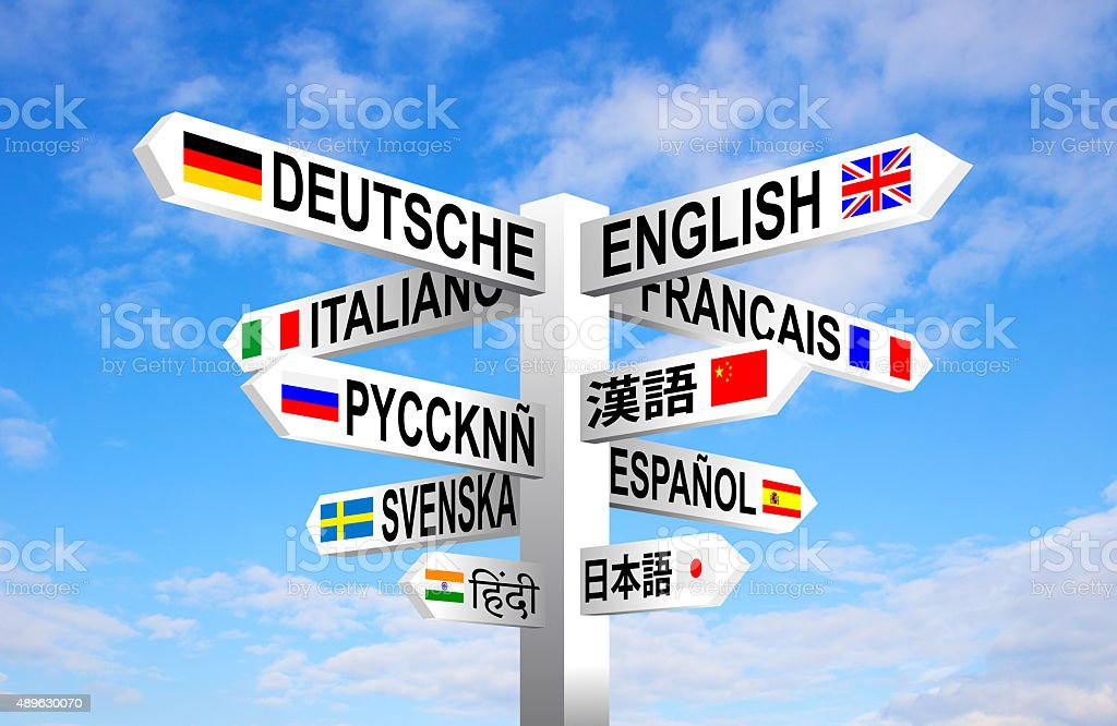Languages Signpost vector art illustration