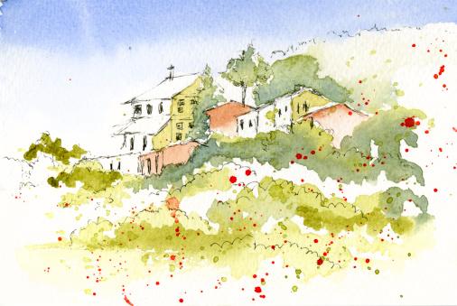 Lanscape watercolour Europe, Majorca