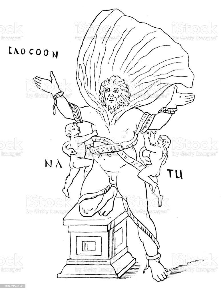 Ilustracion De Laocoonte Sacerdote Troyano Que Con Sus Dos Hijos Fue