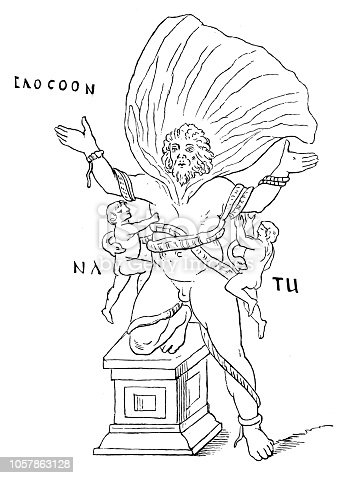 Illustration of a Laocoon ,a Trojan priest who, with his two sons, was crushed to death by two great sea serpents as a penalty for warning the Trojans against drawing the wooden horse of the Greeks into Troy