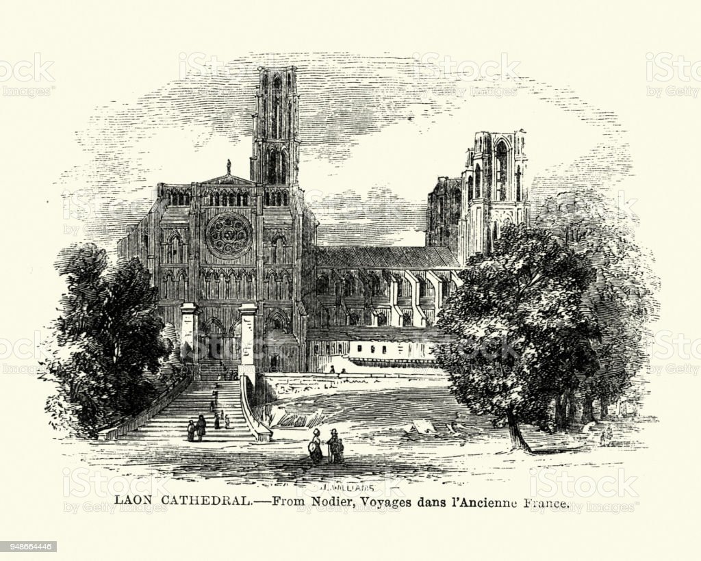 Laon Cathedral, France 19th Century vector art illustration