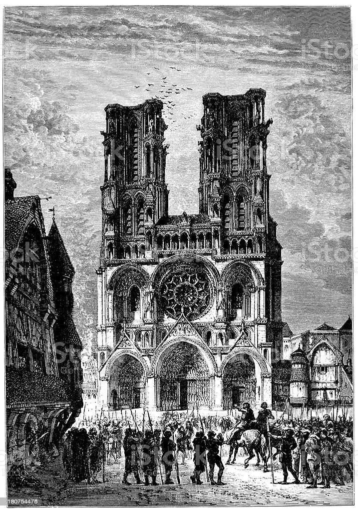 Laon Cathedral Of France royalty-free stock vector art
