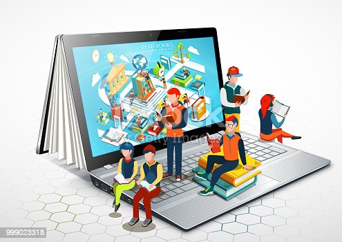 Laptop as a book. People are reading books sitting on a laptop. Online education. Illustration