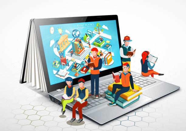 stockillustraties, clipart, cartoons en iconen met laptop als een boek. mensen zijn het lezen van boeken op een laptop zit. online onderwijs. illustratie - e learning