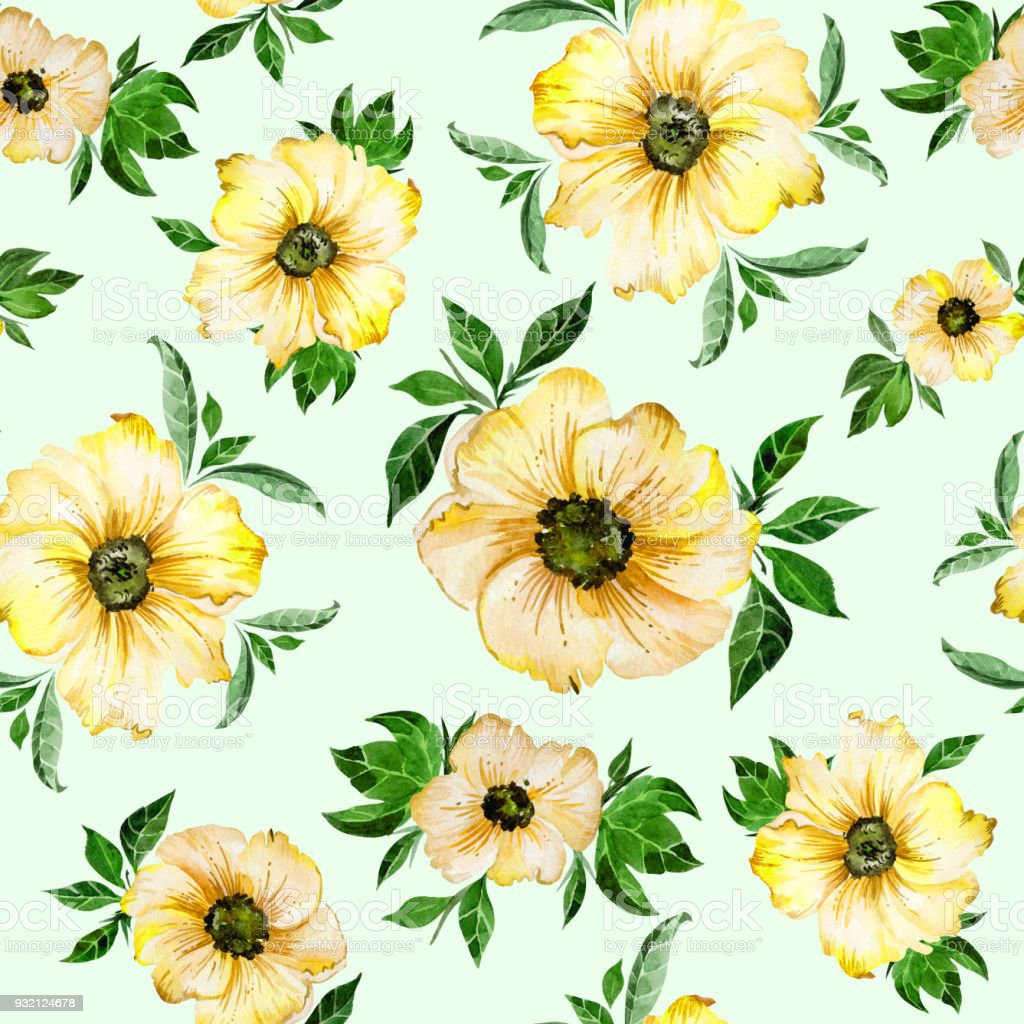 Large Beautiful Yellow Flowers With Leaves On Light Green Background