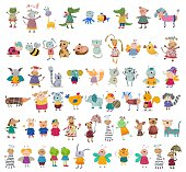 istock Large collection of cartoon characters 470743548