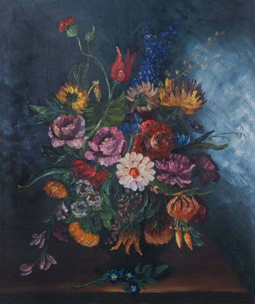 large colourful bouquet of flowers in a vase on the table - oil painting stock illustrations