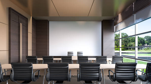 large conference room in hotel , 3d rendering - empty room stock illustrations
