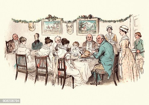 Vintage engraving of from the story of the Curmudgeon's Christmas, by Randolph Caldecott. Large family enjoying a victorian christmas dinner