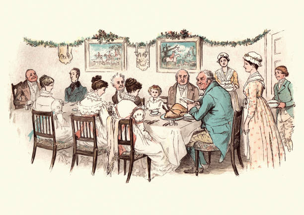 Large family enjoying a victorian christmas dinner Vintage engraving of from the story of the Curmudgeon's Christmas, by Randolph Caldecott. Large family enjoying a victorian christmas dinner christmas family stock illustrations